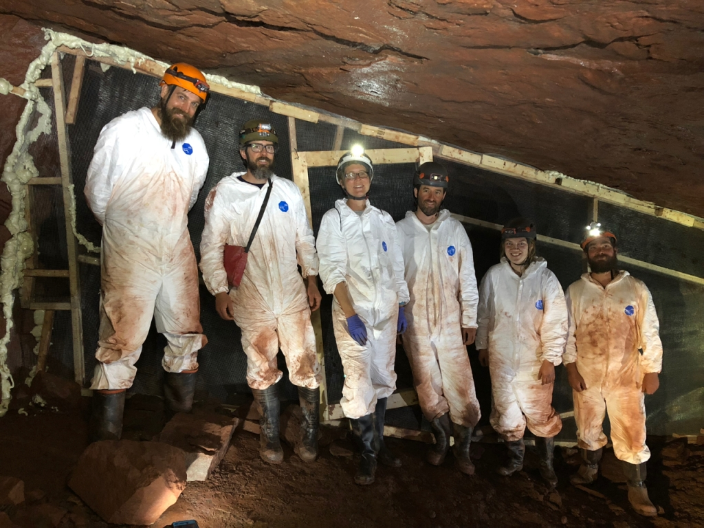 The underground field crew, including staff from Ruffner Mountain, Bat Conservation International and University of Winnipeg, with the temporary barrier built inside the mine so bats were excluded from the area during the field experiment.