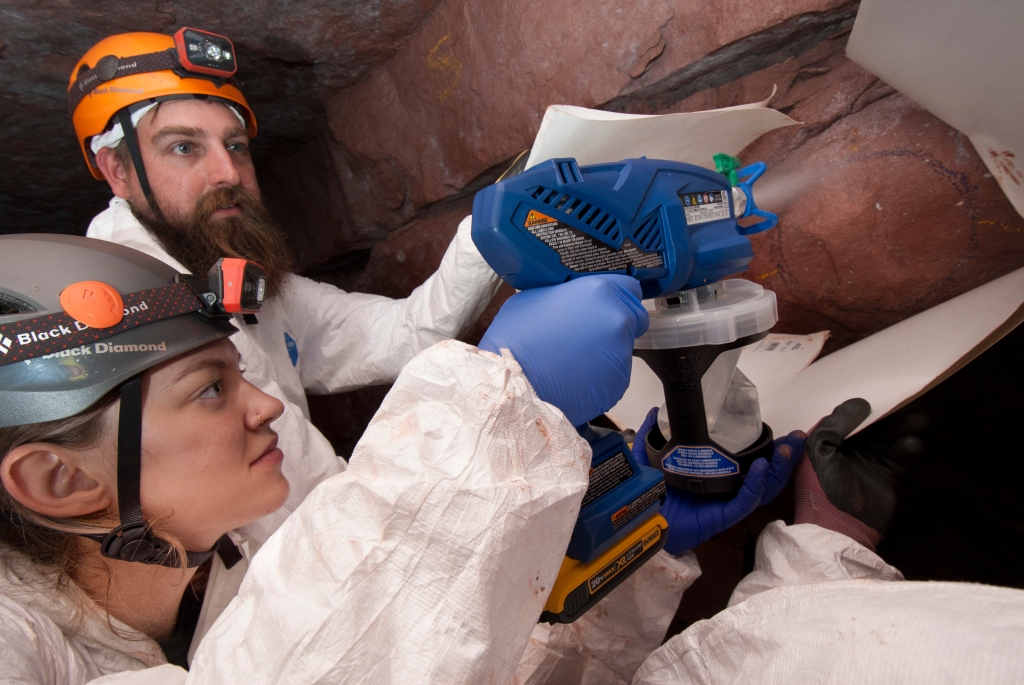 Alyssa Stulburg, a graduate student at the University of Winnipeg. and Jamie Nobles, the conservation director at Ruffner Mountain Nature Preserve, apply polyethylene glycol to a test site inside one of Ruffner's iron mines as part of a study on controlling White Nose Syndrome.
