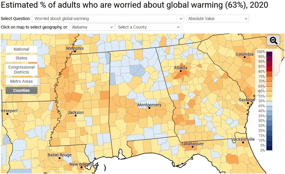 A map of the southeast, divided into counties, with the percentage of adults in each county who are worried about global warming.
