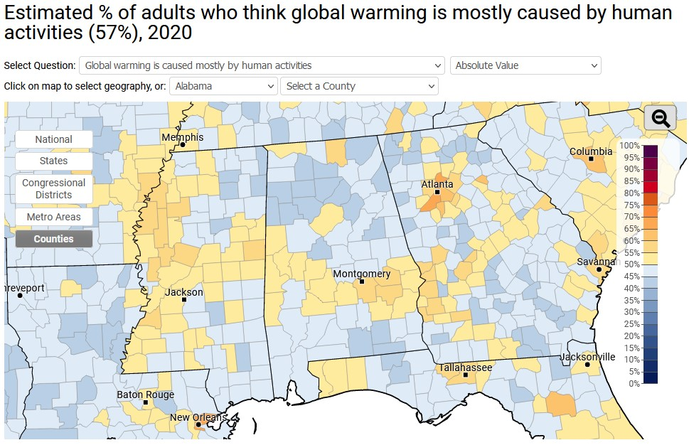 A map of the southeast, divided into counties, with the percentage of adults in each county who believe global warming is mostly caused by human activity.